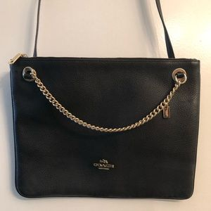 Black Coach Crossbody with gold chain